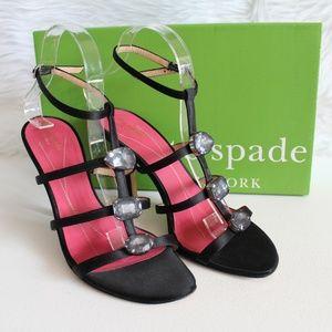 Kate Spade Crystal Jeweled Black Satin High Heels